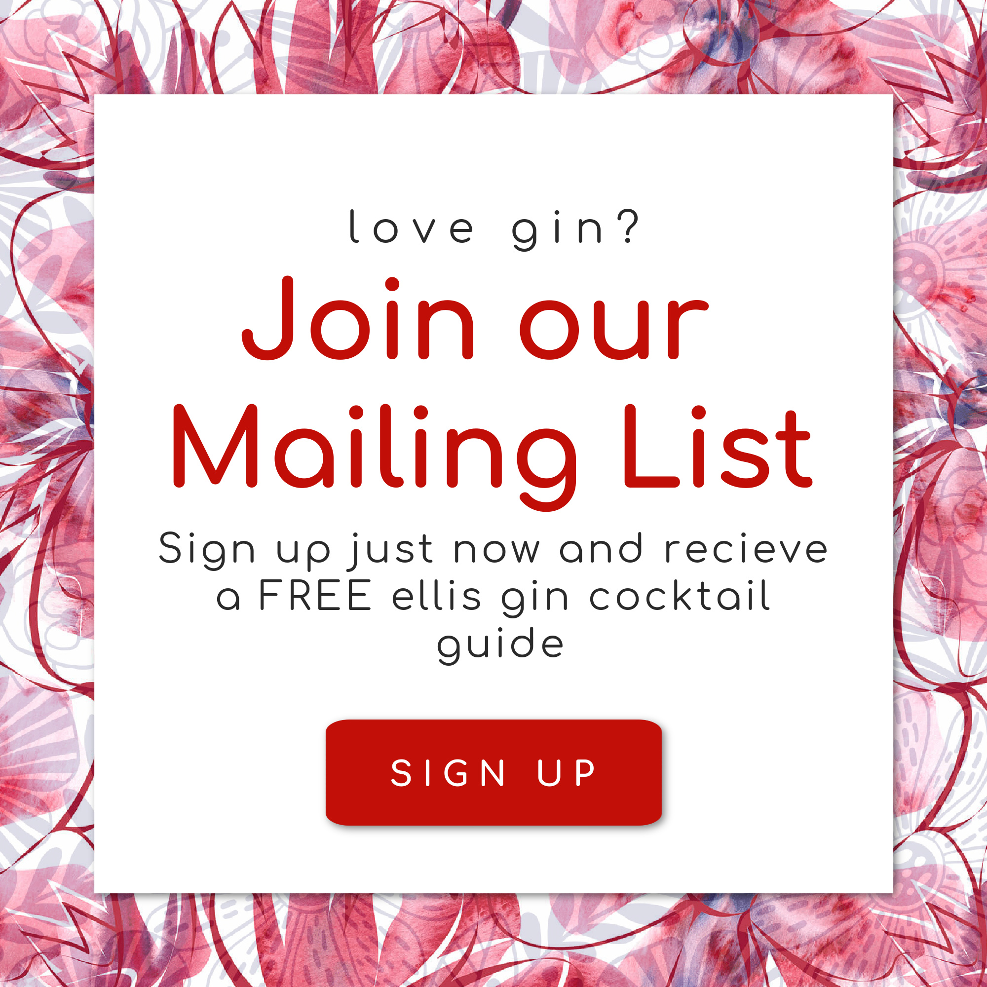 ellis gin mailing list pop up
